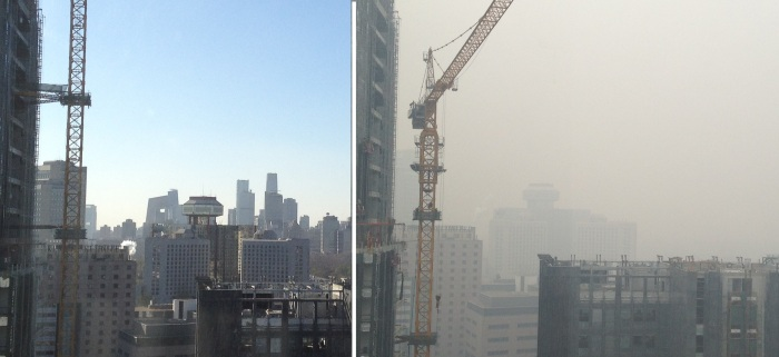 Same time of day, same window, different views!  AQI 13 and AQI 400 -- the Best and the Worst, side by side