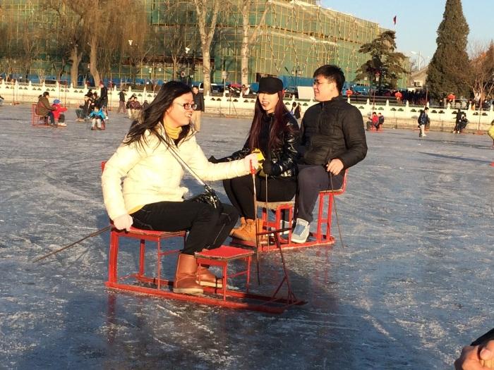 Chair-sleds at Lake HouHai