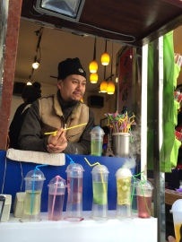 This man sells mysteriously smoking sweet drinks